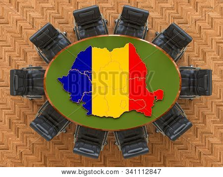Romanian Goverment Meeting. Map Of Romania On The Round Table, 3d Rendering