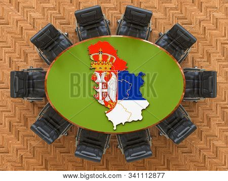 Serbian Goverment Meeting. Map Of Serbia On The Round Table, 3d Rendering