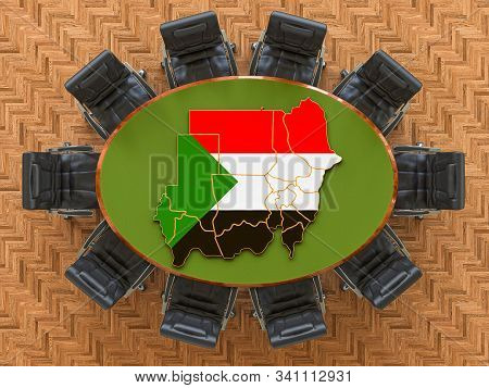 Sudanese Goverment Meeting. Map Of Sudan On The Round Table, 3d Rendering