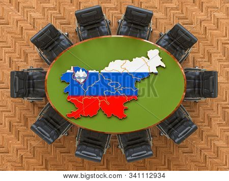 Slovenian Goverment Meeting. Map Of Slovenia On The Round Table, 3d Rendering