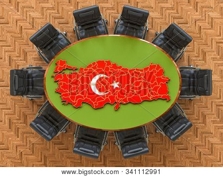 Turkish Goverment Meeting. Map Of Turkey On The Round Table, 3d Rendering