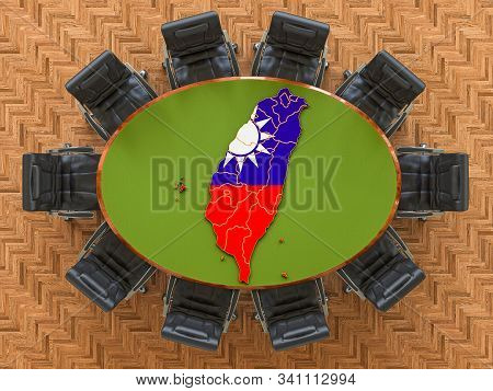 Thai Goverment Meeting. Map Of Taiwan On The Round Table, 3d Rendering