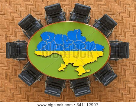 Ukrainian Goverment Meeting. Map Of Ukraine On The Round Table, 3d Rendering