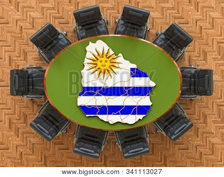 Uruguayan Goverment Meeting. Map Of Uruguay On The Round Table, 3d Rendering