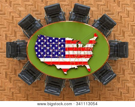 American Goverment Meeting. Map Of The United States On The Round Table, 3d Rendering