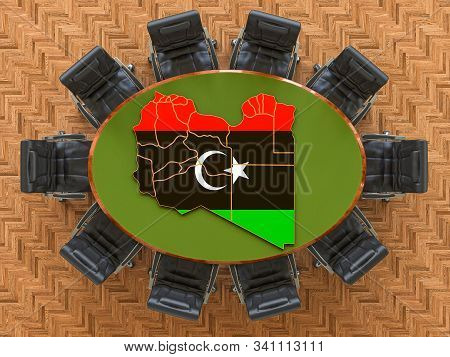 Libyan Goverment Meeting. Map Of Libya On The Round Table, 3d Rendering