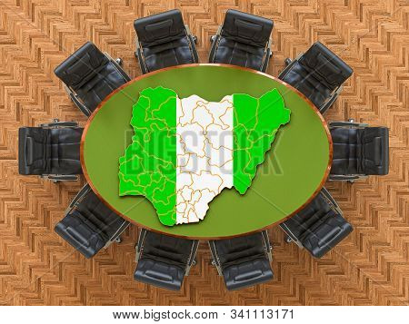 Nigerian Goverment Meeting. Map Of Nigeria On The Round Table, 3d Rendering