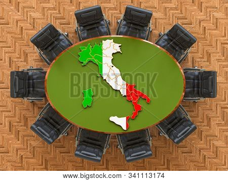 Italian Goverment Meeting. Map Of Italy On The Round Table, 3d Rendering