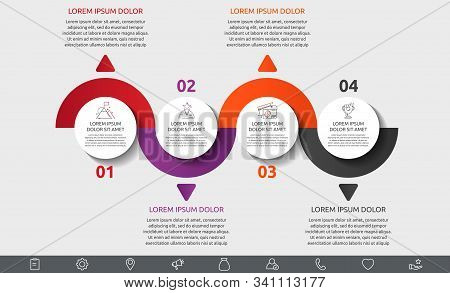 Vector Flat Template Circle Infographics. Business Concept With 4 Options And Arrows. Four Steps For