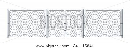 Metal Enclosure With Wire Or Police Fence, Chain Link Obstacle For Prison Or Iron Background With Wi