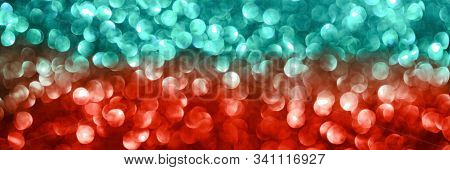 Abstract Biscay Turquoise Green Aquamarine And Coral Red Defocused Bokeh Glitter Sparkle Confetti Bu