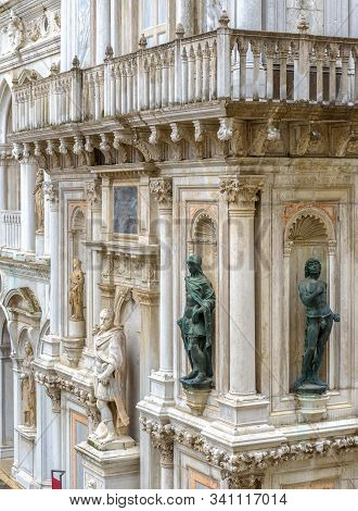 Doge`s Palace Or Palazzo Ducale Closeup, Venice, Italy. It Is Famous Landmark Of Venice. Nice Ornate