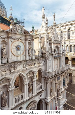 Doge`s Palace Or Palazzo Ducale, Venice, Italy. It Is Famous Landmark Of Venice. Nice Ornate Facade
