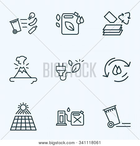 Eco Icons Line Style Set With Bio Energy, Water Cycle, Eco Fuel And Other Magma Elements. Isolated V