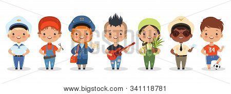 Kids Professions. Cartoon Happy Children Different Professions Vector Characters. Profession Job Chi