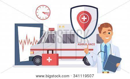 Health Insurance Concept. Doctor, Ambulance Car Flat Illustration. Medical Insurance Help, Healthcar