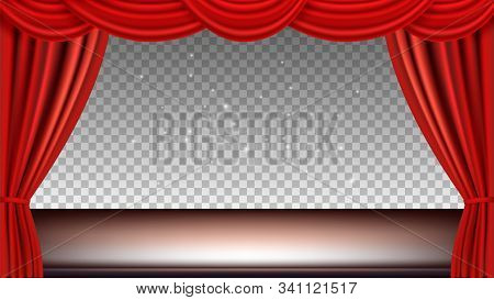 Theater Stage. Festive Background Audience Movie Opera Light With Red Silk Curtains. Vector Realisti