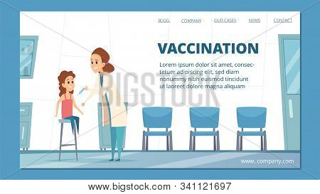 Vaccination Banner. Kids Vaccination, Immunization Vector Concept. Cartoon Doctor Pediatrician Inocu