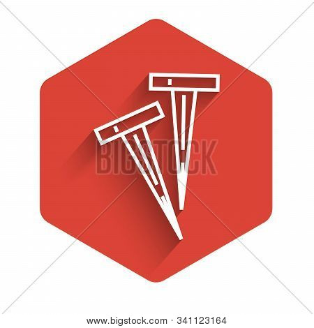 White Line Pegs For Tents Icon Isolated With Long Shadow. Extreme Sport. Sport Equipment. Red Hexago