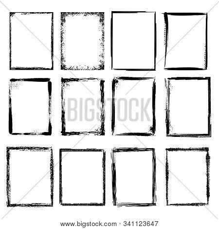 Grunge Frames. Scratchy Sketched Shapes For Graphic Design Projects Vector Collection. Illustration