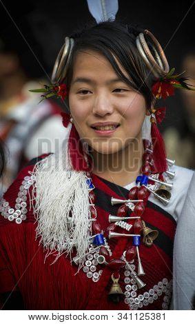 Nagaland, India, December 2013 Naga Tribal Girl Portrait During Hornbill Festival