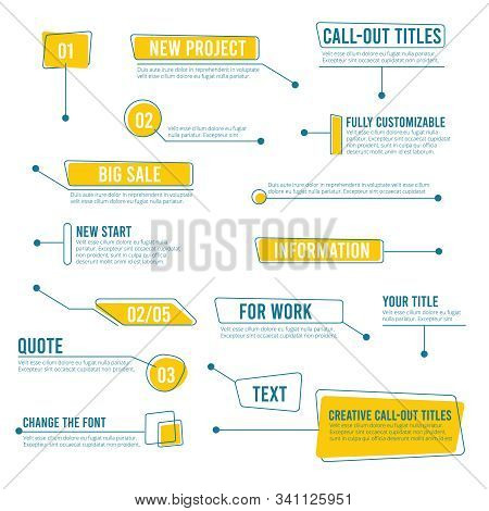 Callout Banners. Digital Labels Social Boxes Text Templates Chart Boards Vector Infographics. Call O