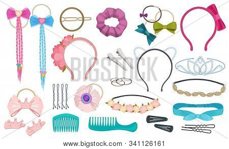 Hair Accessories. Woman Fashion Clips Bows Hairband Elastic Ribbons For Girls Vector Cartoon. Illust