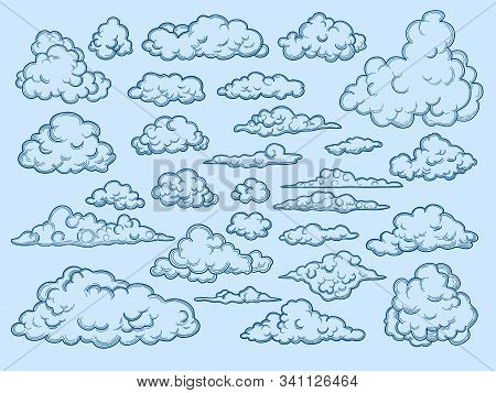 Clouds Sketch. Decorative Sky Elements Weather Clouds Vector Cloudscape Vector Vintage Style. Cloud