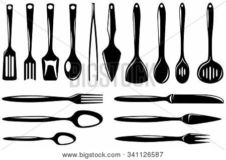 Set Of Isolated Kitchenware Icons Skimmer, Ladle, Small Ladle, Draining Spoon, Slice And Other. Vect