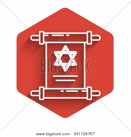 White Line Torah Scroll Icon Isolated With Long Shadow. Jewish Torah In Expanded Form. Star Of David