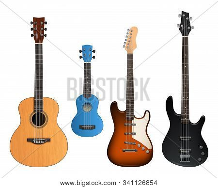 Guitars. Realistic Musical Instruments Sound Making Items Rock And Acoustic Guitars Vector Collectio