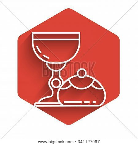 White Line Jewish Goblet And Hanukkah Sufganiyot Icon Isolated With Long Shadow. Jewish Sweet Bakery