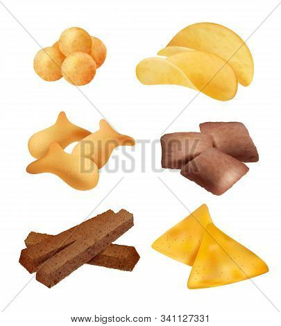 Snack Food. Salty Sticks And Cookies Diet Crackers Backing Mini Bread Organic Food Vector Realistic