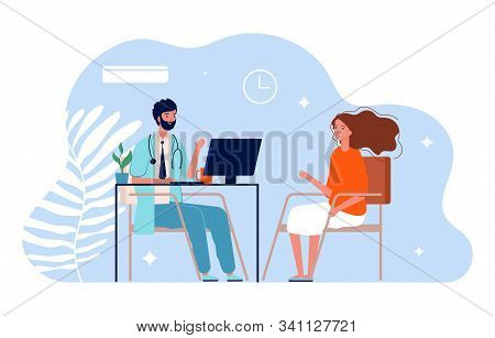 Doctor And Patient. Physician Medical Consultation, Clinic Office. Diagnosis Treatment Patients And