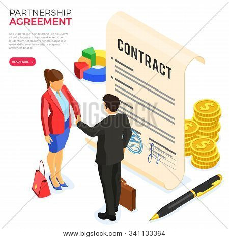 Handshake Business Man And Woman After Negotiating Successful Deal. Partnership Collaboration Corpor