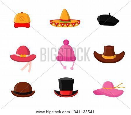 Headdress Flat Vector Illustrations Pack. Men And Women Headwear Shop. Fashionable Wardrobe Accessor