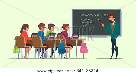 Pupils At Lesson Flat Vector Illustration. Students In Classroom Drawing. University, College Educat