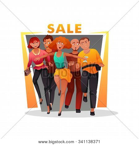 Fanny Crazy People Character Rush For Grand Sale. Mad Men And Women Running For Great Discount. Flat
