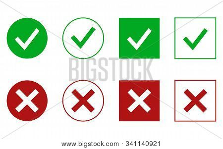 Checkmark Cross On White Background. Isolated Vector Sign Symbol.test Question. Checkmark Icon Set.