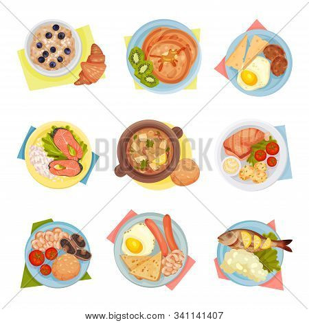 Different Dishes Served On Plates Top Viewed Vector Set