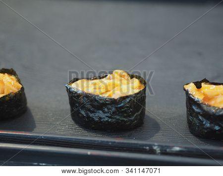 Closeup Uni, Urchin Sushi Topped With Sushi