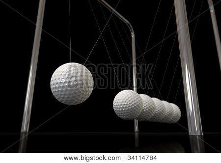 Golf Ball On A Newtons Cradle