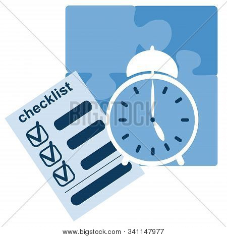 Checklist And Clock. Concept Of Time Managment, Deadline, Self Control, Self Discipline, Tasks And T
