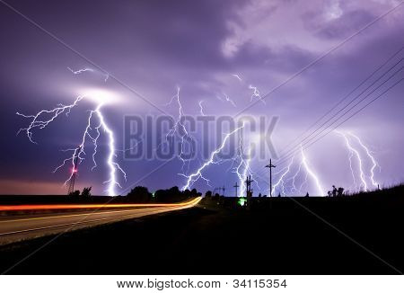 Heavy lightning storm