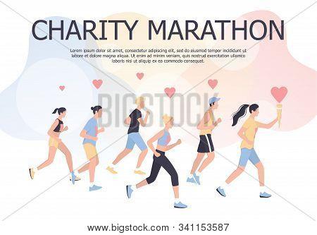 Charity Marathon Poster Design Concept. People Run A Marathon For Charity.