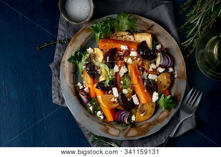 Vegetarian Salad Feta Cheese, Baked Roasted Vegetables, Keto Ketogenic Dash Diet. Mix Of Carrots, Be