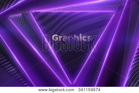 Neon Glowing Light Geometric Shapes. Abstract 3d Background. Vector Illustration Of Violet Electric