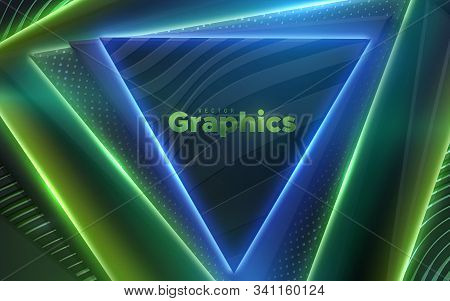 Neon Glowing Lights. Geometric Triangle Shapes. Abstract 3d Background. Vector Illustration. Modern