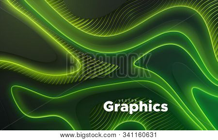 Neon Glowing Lights. Geometric Wavy Shape. Abstract 3d Background. Vector Illustration Of Green Elec