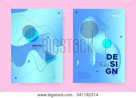 Pastel Hipster Memphis Gradient. Modern Fluid Design. Wave Pattern. Trendy Geometric Template. Abstr